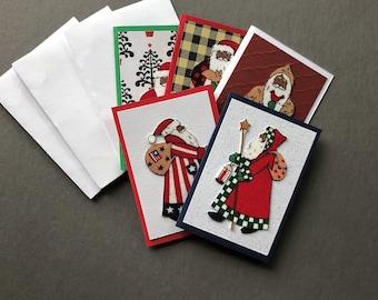 Handmade Fabric African American Santa Christmas Gift Enclosure Cards Set of 5