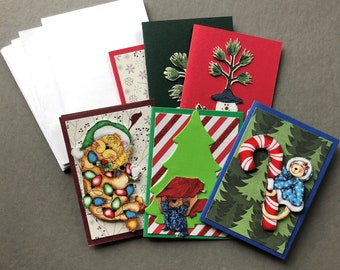Handmade Fabric Go Wild Christmas Gift Enclosure Cards Set of 6