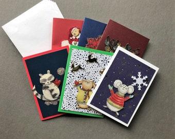 Handmade Fabric Snowflake Fun Christmas Gift Enclosure Cards Set of 6