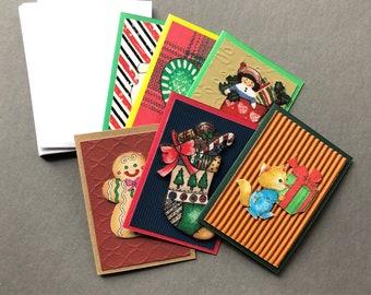 Handmade Fabric Gifting Fox Christmas Gift Enclosure Cards Set of 6