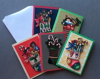 Handmade Fabric Stuffed Stockings Christmas Gift Enclosure Cards Set of 5