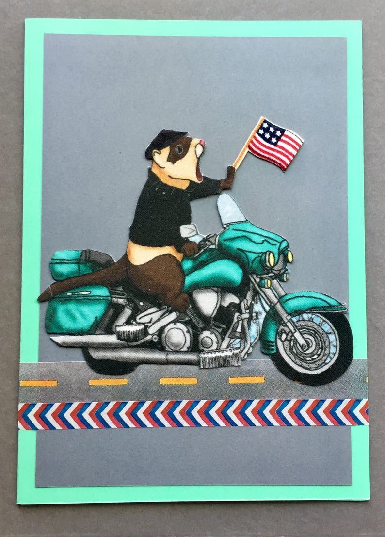 Handmade Fabric Patriotic Motorcycle Riding Ferret Greeting Card