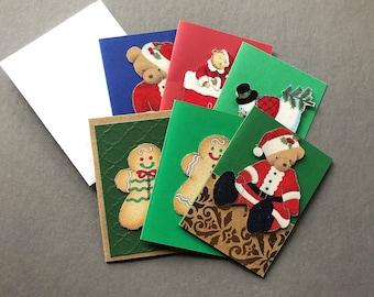 Handmade Fabric Beary Christmas Gift Enclosure Cards Set of 6