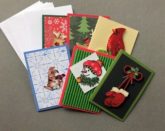 Handmade Fabric Mittens Christmas Gift Enclosure Cards Set of 6
