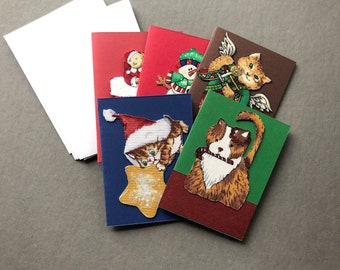 Handmade Fabric Peppermint Cat Christmas Gift Enclosure Cards Set of 5