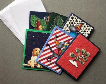 Handmade Fabric Snow Tree Christmas Gift Enclosure Cards Set of 6