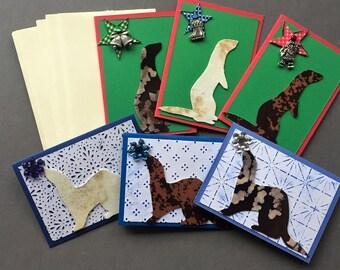 Handmade Fabric Ferret Christmas Gift Enclosure Cards Set of 6