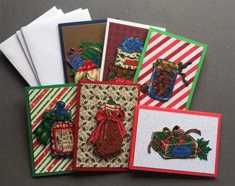 Handmade Fabric Holiday Gifts Christmas Gift Enclosure Cards Set of 6