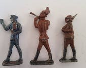 Vintage lot of 3 lead toy soldiers probably date to 1950 39 s, bugler, rifleman, pistol, chippy paint