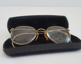 cdc09b1b284 Vintage circa 1930 s AO (American Optical) 12kt gold filled frames with  prescription lenses but can be refitted. Original hard case