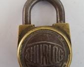 Antique brass and steel Shurloc padlock, no key but nice looking, light duty