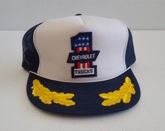 d17f532c8f242 Vintage 1980 s two tone blue and white flat brim mesh back trucker cap