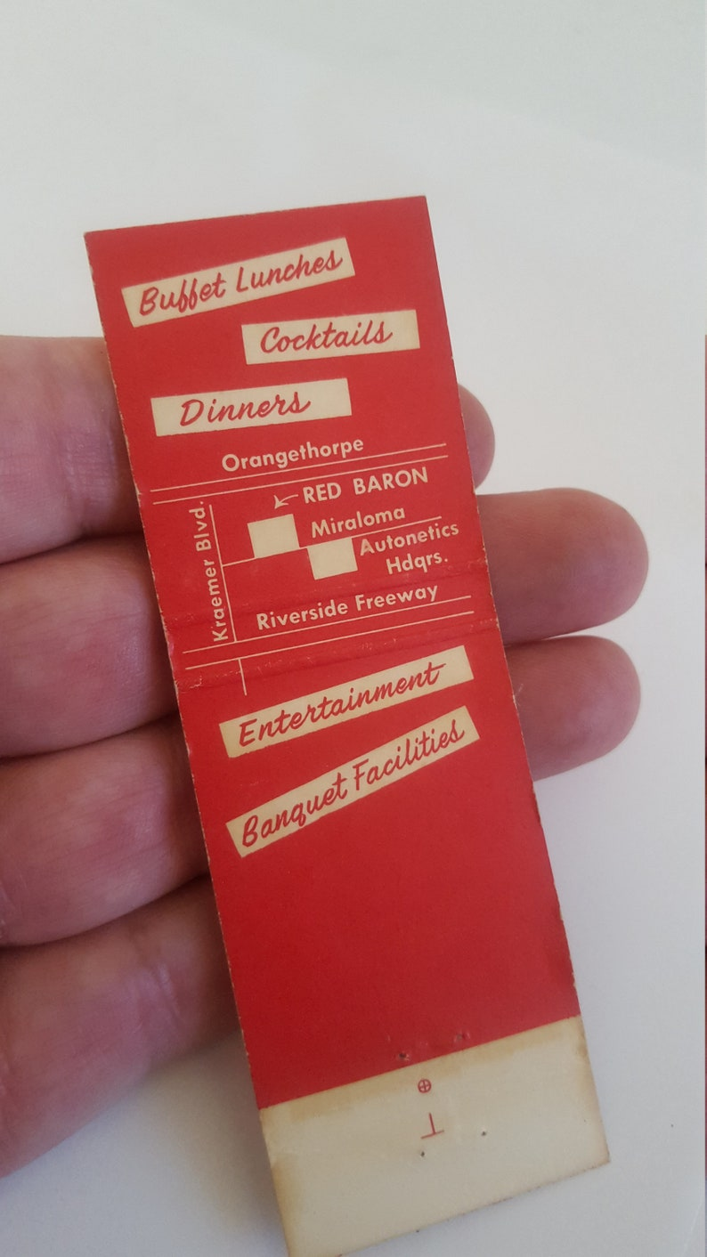 California Vintage circa 1960/'s matchbook cover The Red Baron restaurant located in Anaheim