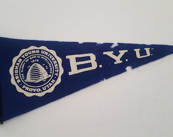 Vintage 1950's miniature wool felt pennant Brigham Young University Cougars, The Y, Provo Utah