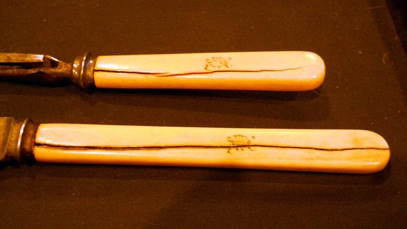 Antique Walker and Hall bone handled antique 1880/'s England Sheffield Serving Fork Carving Knife