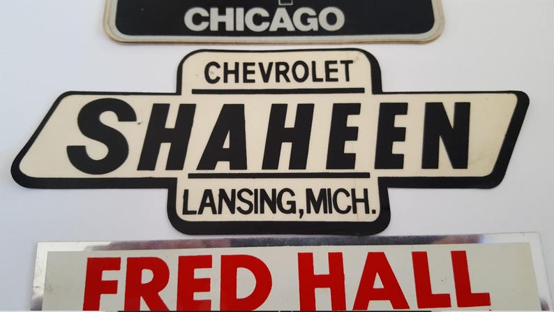 Vintage late 70's Car Dealership stickers original decals Hubler Chevrolet,  Peck Chevrolet, Hall Chevy Olds,Schultz Buick