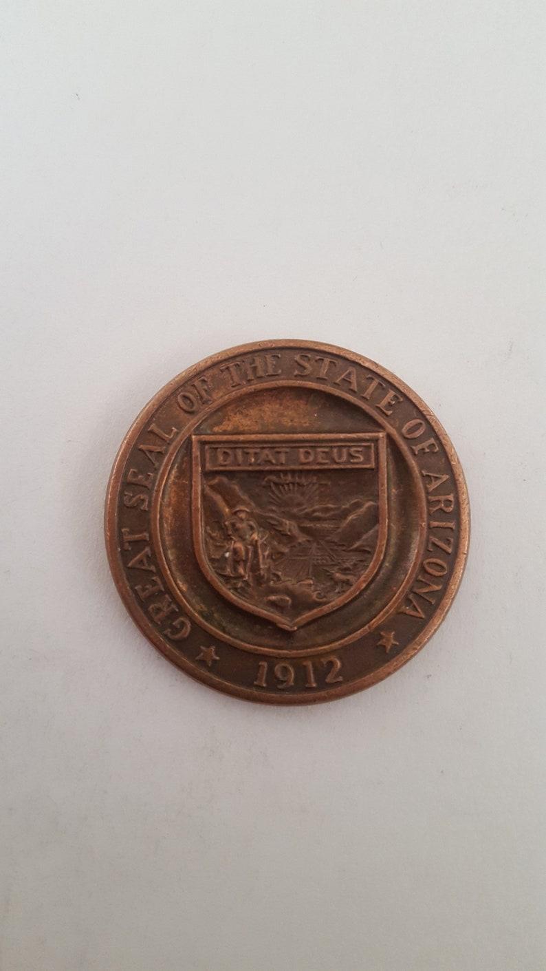 Vintage 1963 Arizona Territorial Centennial copper medallion 1 316