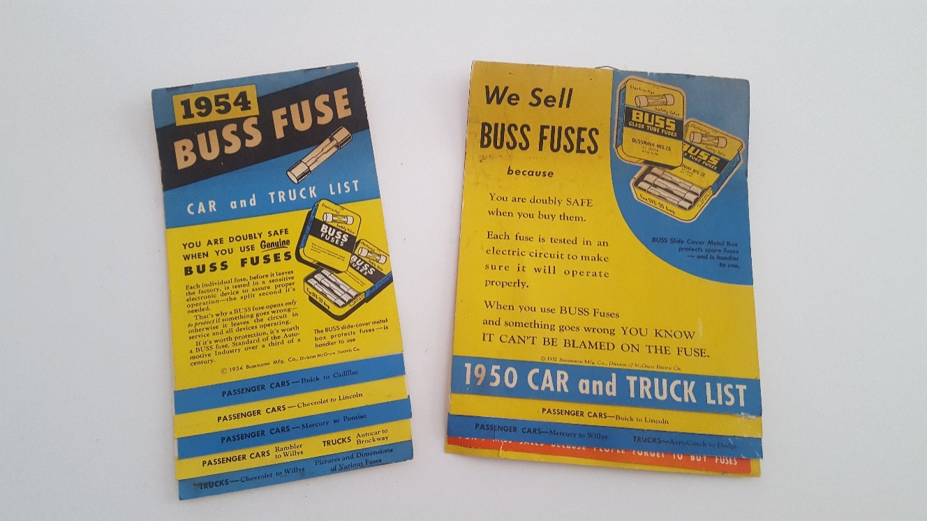 Vintage Car Collectible Ephemera 1950 And 1954 Buss Fuse Etsy 1950s Box Zoom