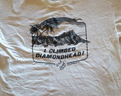 Vintage 1987 quot I Climbed Diamondhead and Lived quot used XXL used T Shirt, clean no holes.Cotton by Anvil