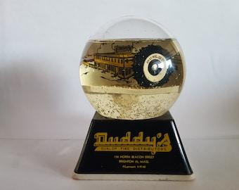 Vintage Rare advertising Sno-Dome paperweight,  1940's Duddy's Dunlop Tire Distributors, Brighton, 35 Massachusetts