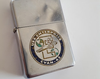 Vintage 1970 USS Enterprise CVAN-65 Zippo cigarette lighter, well used, as found and untested