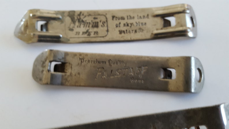 Vintage lot of 3 circa 1950/'s to 1960/'s beer can openers Hamm/'s Beer Olympia Beer and Falstaff