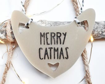 Merry Catmas Decoration, Hanging Pearlescent Acrylic Laser-cut Cat, Festive, Celebration, Someone Special, Cat Lover, Crazy Cat Lady