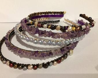 Pearl and gemstone headbands
