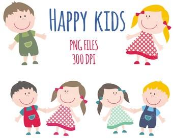 b43320d49 Happy Smile Kids Clipart / Children Clip Art / Boy and Girl / Summer Kids /  Children Clipart