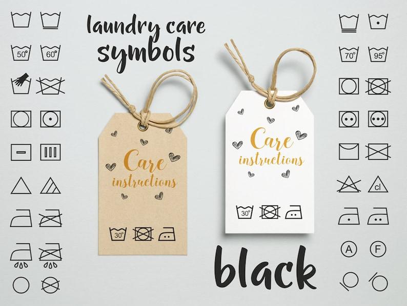 Laundry care symbols clipart,BLACK laundry care sign, clothes washing  instruction  laundry care instructions, textile care clip art digital