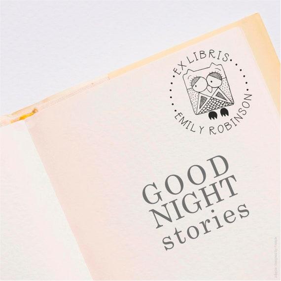 Adressenstempel « EULE MIT BUCH » mit Kissen Holzstempel Ex Libris Bibliothek