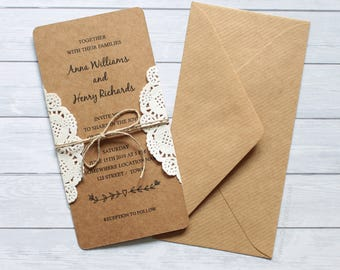 RUSTIC Wedding Invitation CUSTOM / Save The Date / Rustic iNVITATIONS / Shabby Chic / Country Wedding / printed wedding invitations / Lace