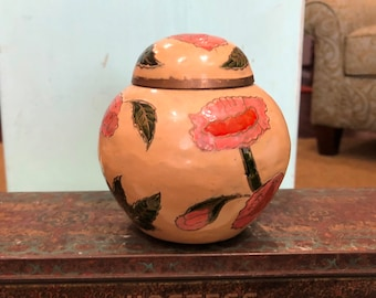 """Vintage Brass Cloisonne Ginger Jar With Lid-Handmade in India-Floral in Pinks & Greens-4"""" Tall"""