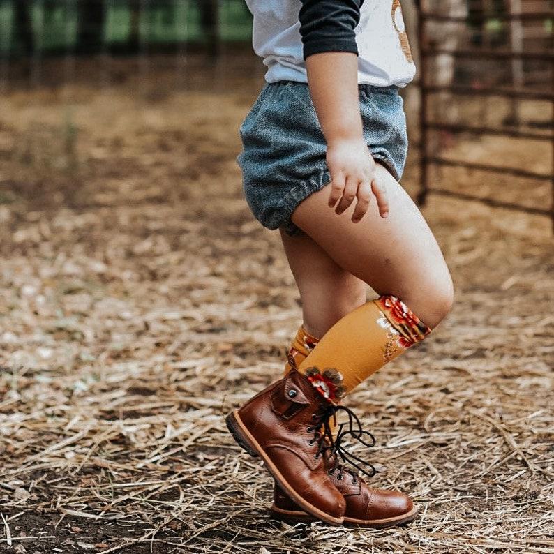 093fea63b79 Girls Knee High Socks Girls Floral Mustard Knee Highs Toddler