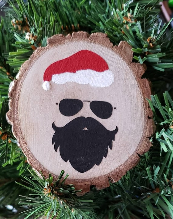 Bearded Man Santa Hand Painted Wood Slice Christmas Tree Ornament