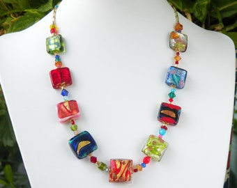 Murano Glass Multicolored Venetian Cube Shaped Beaded Necklace with Foil and Crystal Accents with Sterling Silver Clasp and Adjustable Chain