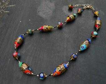 lampwork murano glass necklace short size handmade Gustav Klimt black and Gold 24 kt