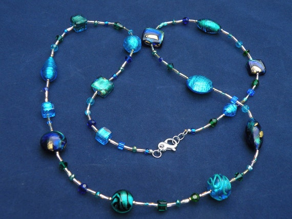 necklace earrings DIY jewelry making Murano glass bead Aqua teal white gold foil curved tube 35x8mm bracelet GPB127