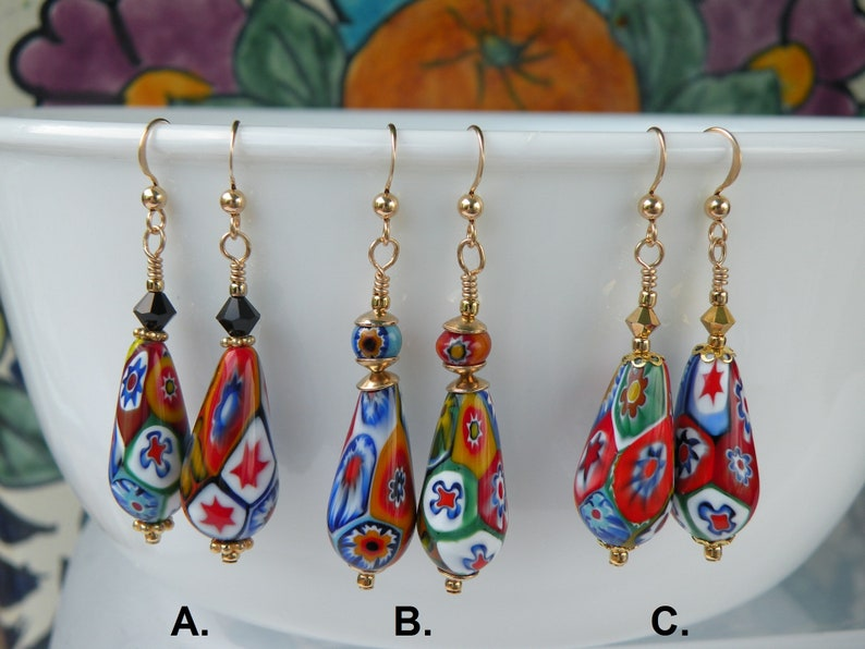 green or blue Earrings with large disc shaped millefiori beads