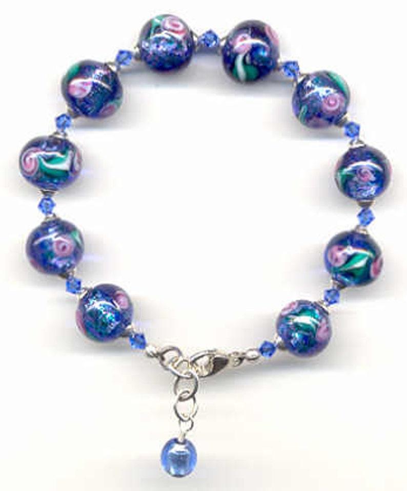 Blue Beads Venetian Glass Bracelet with Monet/'s 12mm Round