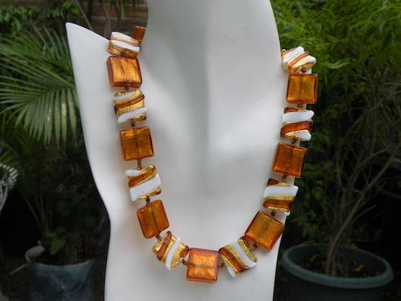 Vintage Venetian Murano Glass Bead Necklace, Misso