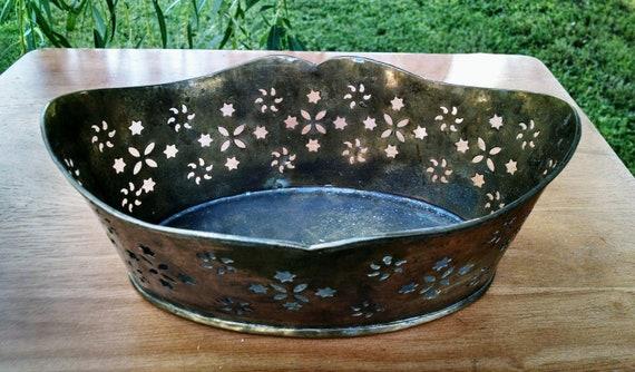 Vintage Brass Bowl Brass Basket Brass Container Etsy
