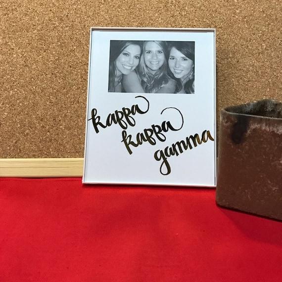 Kappa Kappa Gamma Gold Metallic Script Frame Etsy