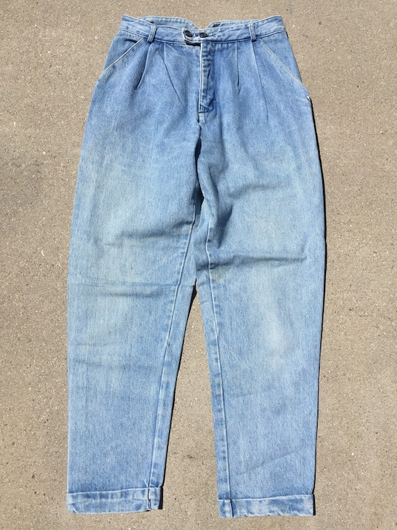 90s Guess Jeans: Baggy Cuffed Up Lightwash Jeans/… - image 2