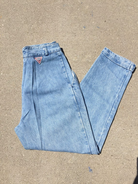90s Guess Jeans: Baggy Cuffed Up Lightwash Jeans//