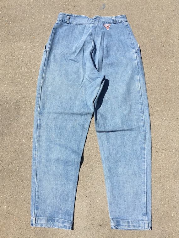 90s Guess Jeans: Baggy Cuffed Up Lightwash Jeans/… - image 3