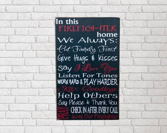 Firefighter - Firefighter Gift - Firefighter Home - Firefighter Decor - Firefighter Home Decor - Fireman Gift - Firefighter Wife - Wood Sign