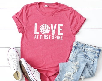 eef117978 Love at First Spike | Short Sleeve Tee | Volleyball Tee | Women's Shirt |  Graphic Tee | Volleyball Mom | Sports Tee | Unisex Tees
