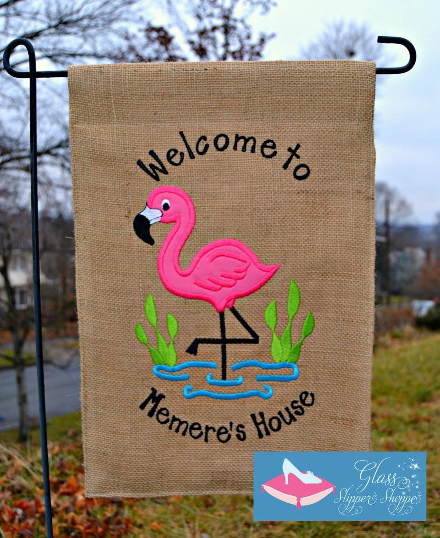 Custom Monogrammed Welcome Flamingo Burlap Garden Flag   Etsy