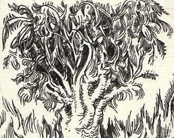 Tree-- original art, etching, print, fine art print, wall art, printmaking, affordable art, tree,  psychedelic